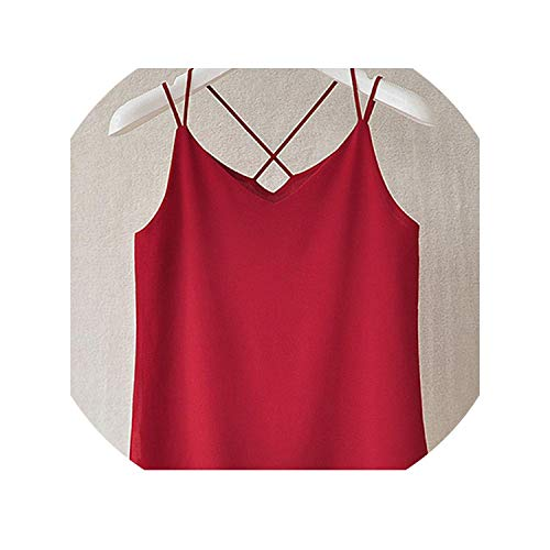 Women Tops Backless Sexy V Neck Chiffon Women Tops and Blouses Halter Tank Top,Wine Red,M