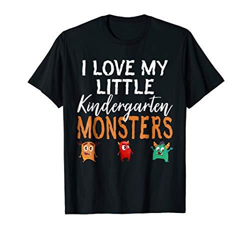 I Love My Little Kindergarten Monsters Teacher Halloween Tee