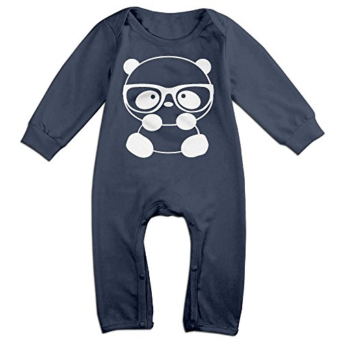 Costumes Romper Nerd Infant (Baby Infant Romper Panda Nerd With Glasses Long Sleeve Jumpsuit Costume Navy 12)