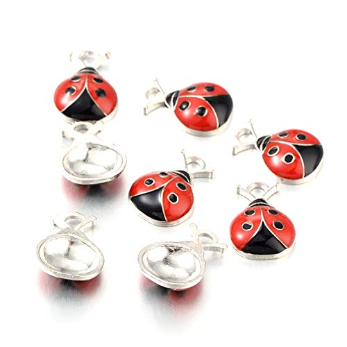 Craftdady 10Pcs Alloy Enamel Ladybug Charms 18.5x12.5mm DIY Jewelry Necklace Earring Bracelet Craft Making Animal Pendants with 2mm -