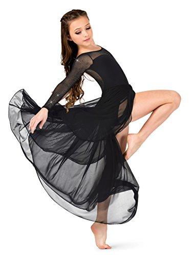 Girls Performance Twinkle Mesh Long Sleeve Dress,TW317WHTM,White,Medium ()