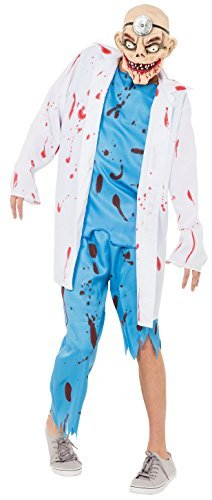 Mens Dead Zombie Doctor Surgeon + Mask Halloween Horror Fancy Dress Costume Outfit -