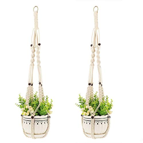 (Ropesart 2 Pcs Cotton Plant Hanger White Handmade Versatile Pot Holder Indoor Elegance Display with Beads Home Furnishing)
