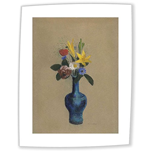 JH Lacrocon Odilon Redon - Bouquet Of Flowers In A Blue Vase Canvas Reproductions Rolled 45X60 cm (approx. 18X24 inch) - Flower Still Life Paintings Fully Textured 3D Printed Fine Art
