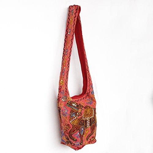 Fashion Wear Zari Pailletten Themen-gesticktes Abend Baumwolle Jhola Tasche DqNCGzpB