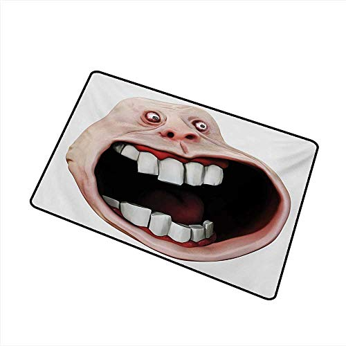 Pet Door mat Humor Scary Monster Meme with Surprised Forever Expression Cartoon Comics Graphic W16 xL20 Suitable for Outdoor and Indoor -