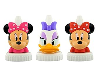 good2grow spill-proof bottle toppers 3-pack, Disney - Pink Bow Minnie Mouse, Daisy Duck & Red Bow Minnie Mouse