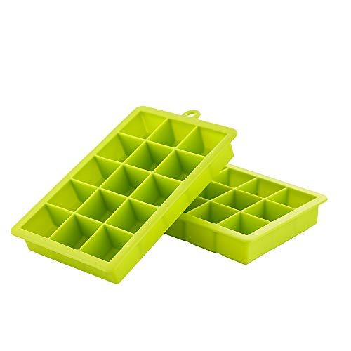 Ice Cube Trays Silicone Ice Maker No Odor Or Aftertaste 2 Pack Make 30 Ice Cube Easy Release Flexible Ice Freezer Mold Trays With Lids (Green) -
