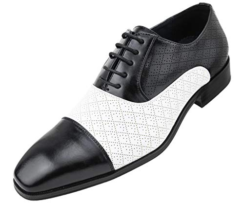 - Amali Men's Quilted Embossed Two Tone Lace Up Faux Leather Oxford Dress Shoe with Smooth Cap Toe, Style Hammond Black/White