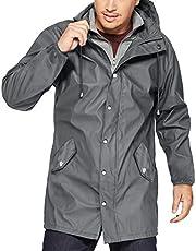 URRU Men's Waterproof Raincoat Lightweight Hooded Windbreaker Jackets Outdoor Trench Coat S-XXL