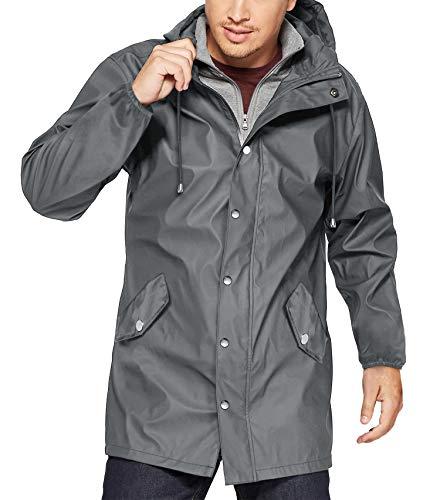 URRU Men Waterproof Warm Cotton Winter Snow Coat Mountain Snowboard Windbreaker Hooded Raincoat Grey S