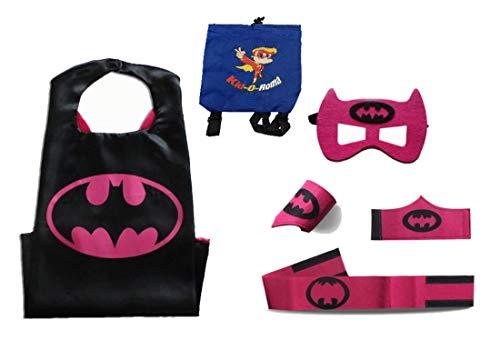 Super Hero Capes for Kids Halloween Costumes | 5pc Set | Pick Your Favorite Hero Bonus Backpack Bag (Pink BA Batgirl)