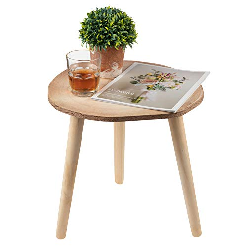 SOPRETY Mesa auxiliar redonda de madera para salon, mesa lateral decorativa, mesa de cafe, mesa de cafe pequena para dormitorio, salon, jardin, estilo de rueda del ano, 40 x 39 cm