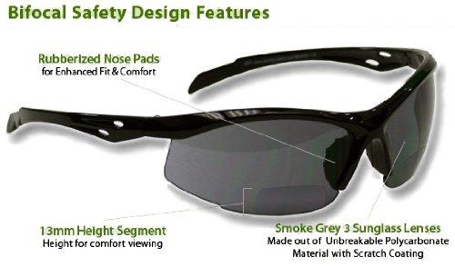 (Bifocal Safety Glasses SB-9000 PS Smoke, 1.50)