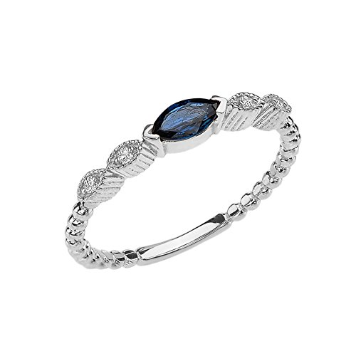 14k White Gold Marquise Cut Engagement/Proposal Diamond Ring With Genuine Sapphire Center Stone (Size 7.25)