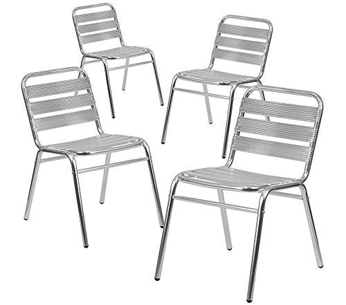 Flаsh Furniturе Patio Outdoor Garden Premium 4 Pk. Commercial Aluminum Indoor-Outdoor Restaurant Stack Chair with Triple Slat Back