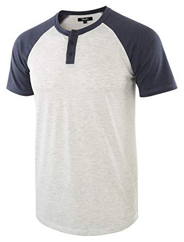Estepoba Men's Casual Vintage Short Raglan Sleeve Baseball Henley Jersey Shirts H.Oatmeal/C.Blue XXL