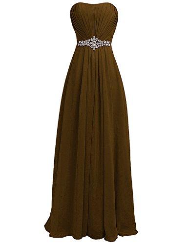 Rhinestone Frauen Brautjunfer langes Strapless Schokolade Kleid Kleid rpe Sch HWAN Abend w6qS4EE