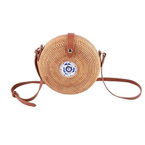 stile singole Sacchetto di in caramelle tracolla di vento femminile Borsa per paglia Boemia legno a donna da Sacchetti ragazze a pastorale tonda rattancolore forma 8nvN0mw