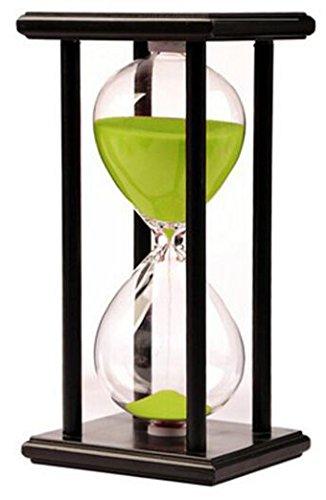 Hourglass Timer for 60 Minutes Sandglass Timer for Kitchen Living Room Home Office Desk Bedroom Party Festival Coffee Table Book Shelf School Game Sand Timer Clock (black frame green sand)