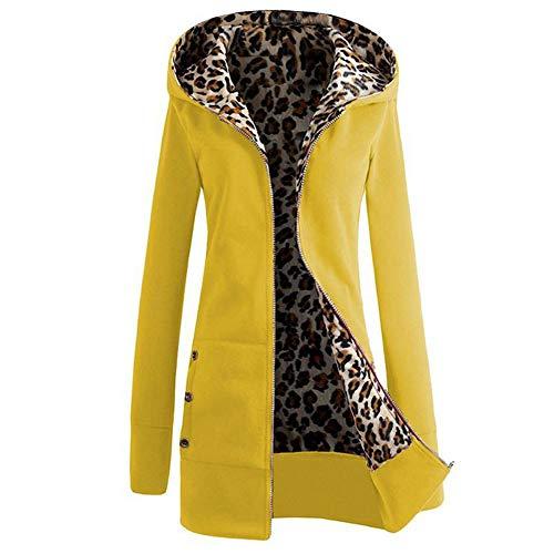 Women Warm Zipper Open Hoodies Sweatshirt Long Coat Winter Fashiion Jacket Tops Outwear(Yellow-L)