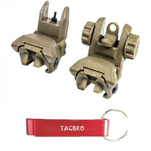 TACBRO Polymer Flip-up Front and Rear Sight - Tan with One Free TACBRO Aluminum Opener(Randomly Selected Color) by TACBRO