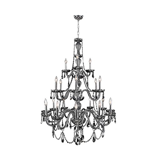 (Worldwide Lighting Provence Collection 21 Light Chrome Finish and Smoke Crystal Chandelier 38