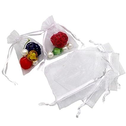 100 bolsas de regalo de organza para fiestas, bodas, festivales, con cordón, 7 x 9 cm, blanco