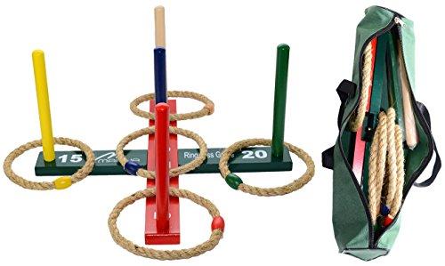 Mahendran Ring Toss jeu pour enfants et adultes - amusant jeu de famille intérieur ou extérieur avec pinces colorées à 5, 5 anneaux de corde et un sac de transport pour un rangement facile.