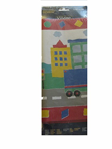 Child's Room Pre-pasted Wallpaper Border Primary Colors Boats Cars Road
