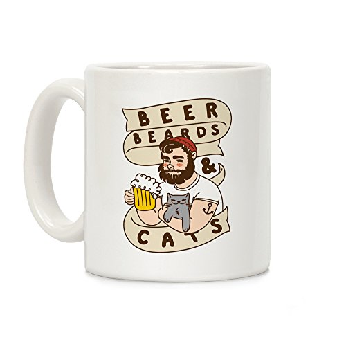 LookHUMAN Beer, Beards and Cats White 11 Ounce Ceramic Coffee Mug ()