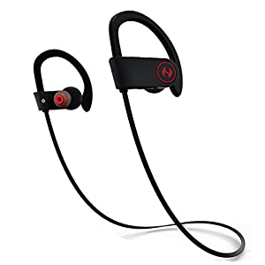 Bluetooth Headphones, Hussar Magicbuds Wireless Sports Earphones with Mic, IPX7 Waterproof, HD Sound with Bass, Noise Cancelling, Secure Fit, up to 9 Hours Working time (Upgraded)