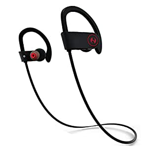 Bluetooth Headphones, Hussar Magicbuds Best Wireless Sports Earphones with Mic, IPX7 Waterproof, HD Sound with Bass, Noise Cancelling, Secure Fit, up to 9 Hours Working time (2018 Edition)
