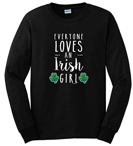 Funny Irish Design Black T-shirt (Everyone Loves an Irish Girl Funny St Patricks Day Long Sleeve T-Shirt 4XL Black)