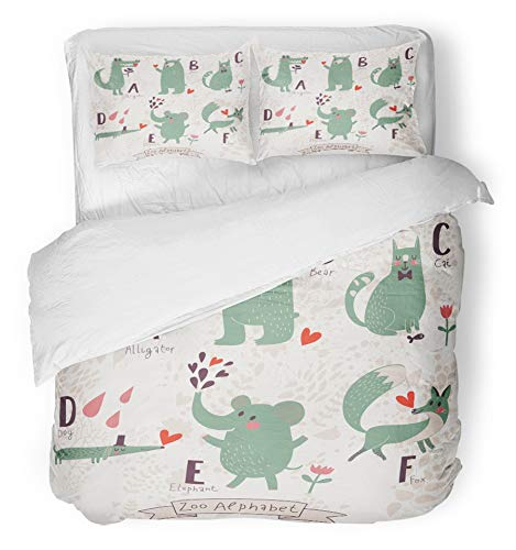 Emvency 3 Piece Duvet Cover Set Brushed Microfiber Fabric Breathable Cute Zoo Alphabet in B C D E F Letters Funny Animals Love Alligator Bear Cat Bedding Set with 2 ()