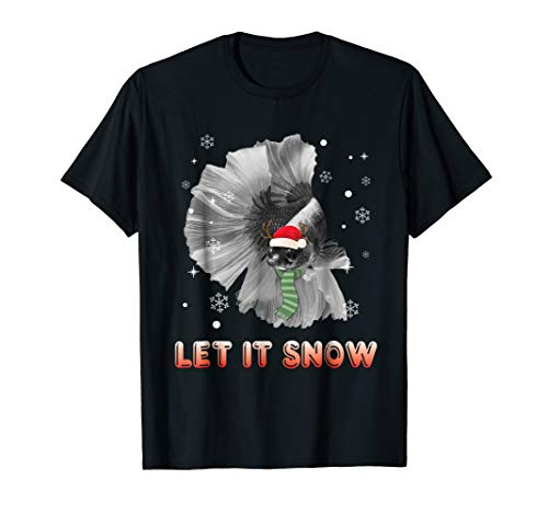 Let It Snow Betta Fish Christmas T-Shirt Women Girl Xmas (Betta Fish T Shirt)