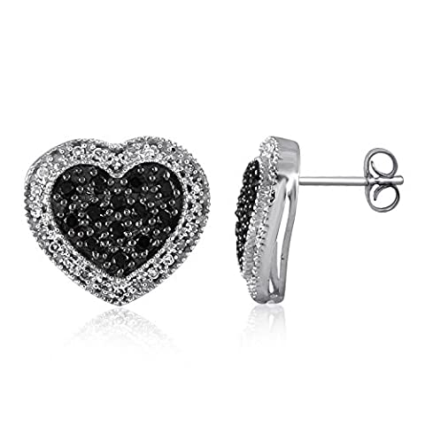 1/2 CTW Genuine Black & White Diamond Heart Sterling Silver Earring