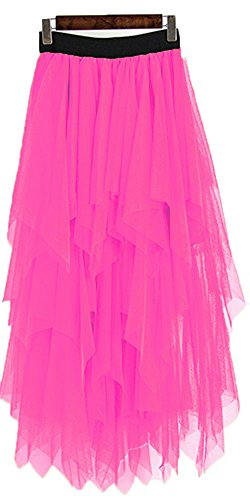 OnlyBridal Women's One Size High Low Asymmetrical Tulle Tea-Length Skirt