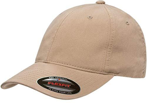 Flexfit Garment Washed Cotton Dad Hat | Low Profile, Stretch Flex Fit Ballcap w/Hat Liner Small/Medium Khaki