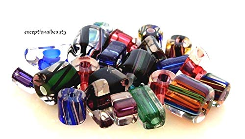 Pendant Jewelry Making 20 Assorted Gem Tones Hand Blown Cane Glass Beads