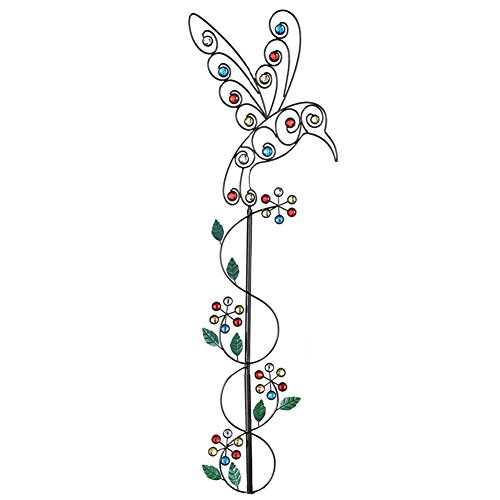 Sparkling Gem Scrollwork Garden Decor Yard Stakes, Hummingbird Summer Garden Collection