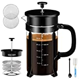 Chrider French Press Coffee Maker (34 oz 8 Cups) Coffee Press with 304 Stainless Steel Stand and 4 Filter Screens, Precise Scale Easy to Clean Durable Heat Resistant Borosilicate Glass - Black