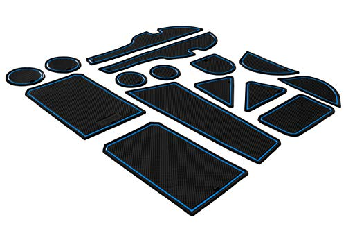 CupHolderHero for Toyota RAV4 2014-2018 Custom Liner Accessories - Premium Cup Holder, Center Console, and Door Pocket Inserts 15-pc Set (Blue Trim)