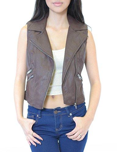Azkara Womens Faux Leather Vest Medium Brown