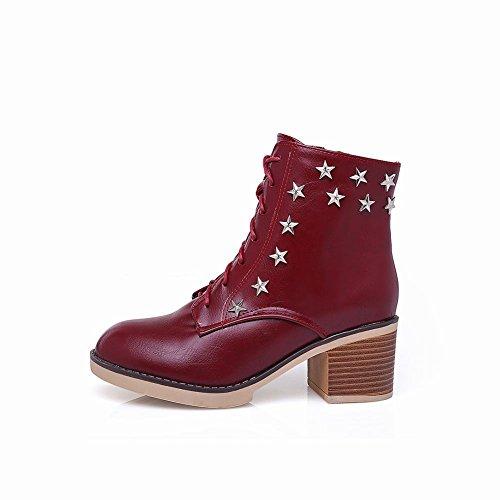 Mee Shoes Damen chunky heels Plateau Schnürsenkel Martin Boots Rot