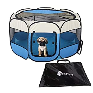 Campfine Plegable Portátil Parque de Mascotas Uso en Interiores/Exteriores -8 Panel, Resistente al Agua … (M:73*73*43CM)