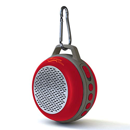 (iFox IFS303 Ultra Portable Wireless Bluetooth Speaker with Clip for iPhone iPad iPod Android or PC with FM Radio, AUX, SD and Speakerphone, Outdoor and Indoor (Red))