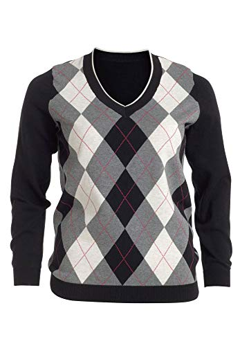 (Ellos Women's Plus Size V-Neck Argyle Sweater - Black Gunmetal, S)