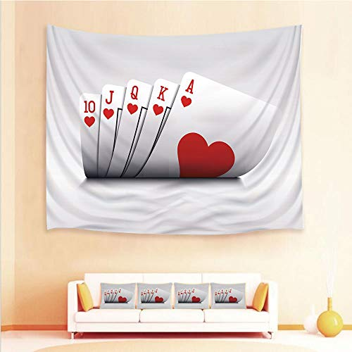 iPrint 1pcs Hanging Tapestry 4pcs Pillow case?Wall Hanging Blanket Beach Towels Picnic Mat Home Decor,Royal Flush Playing Cards Hearts Betting Bluff,3D Printed Tapestry Bedroom Living Room