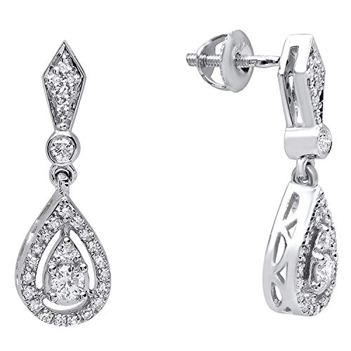 Dazzlingrock Collection 0.35 Carat (ctw) 14K Round White Diamond Ladies Dangling Drop Earrings 1/3 CT, White Gold